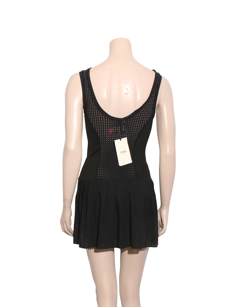 Fendi Karlito Perforated Stretch-Jersey Tennis Dress