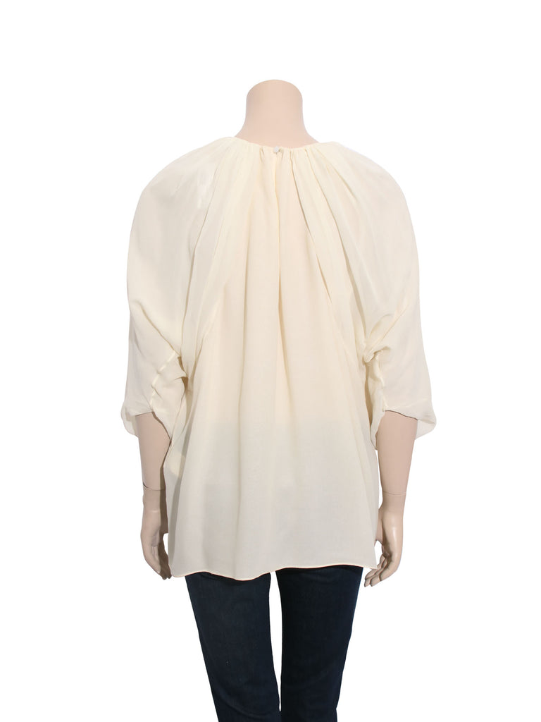 Giambattista Valli Silk Chiffon Cape Blouse