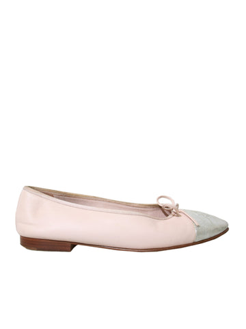 Chanel CC Cap-Toe Leather Ballet Flats