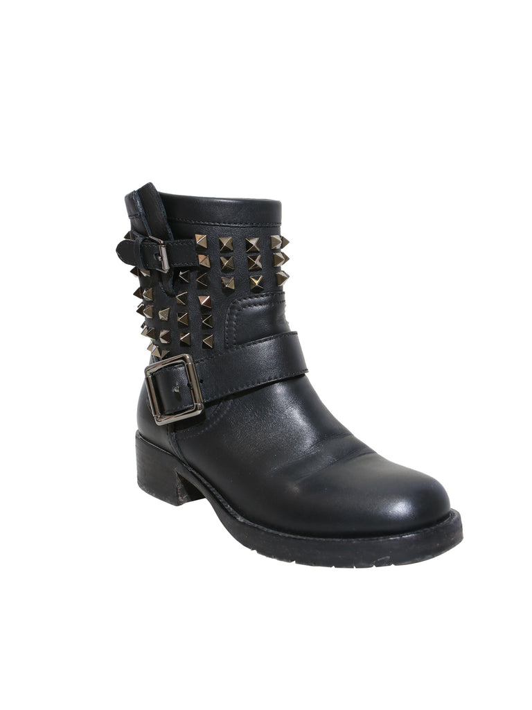 Rockstud Rolling Noir Leather Boots