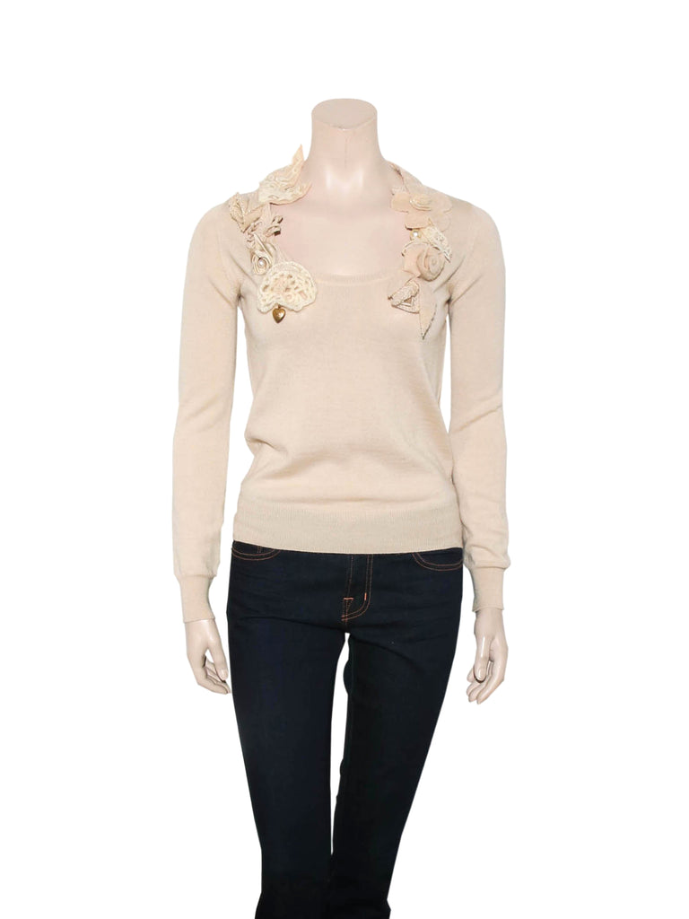 Moschino Knit Floral Appliqué Sweater