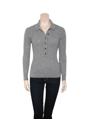 Tory Burch Wool Ribbed Polo Sweater