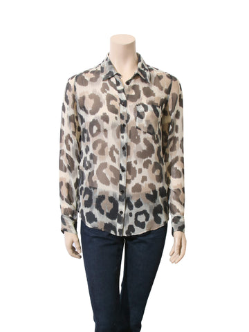 Equipment Leopard Silk Blouse