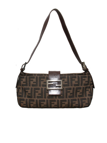 Fendi Leather Trimmed Zucca Baguette
