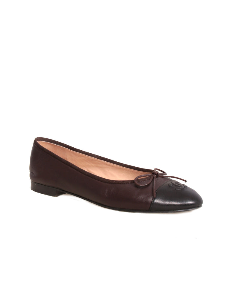 Chanel Leather Cap-Toe Ballet Flats