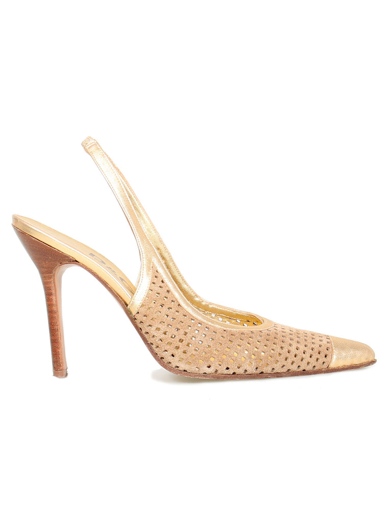D&G Perforated Slingback Pointed Pumps