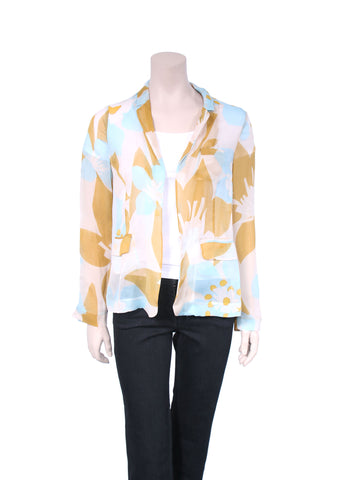 DVF Printed Silk Sheer Blazer