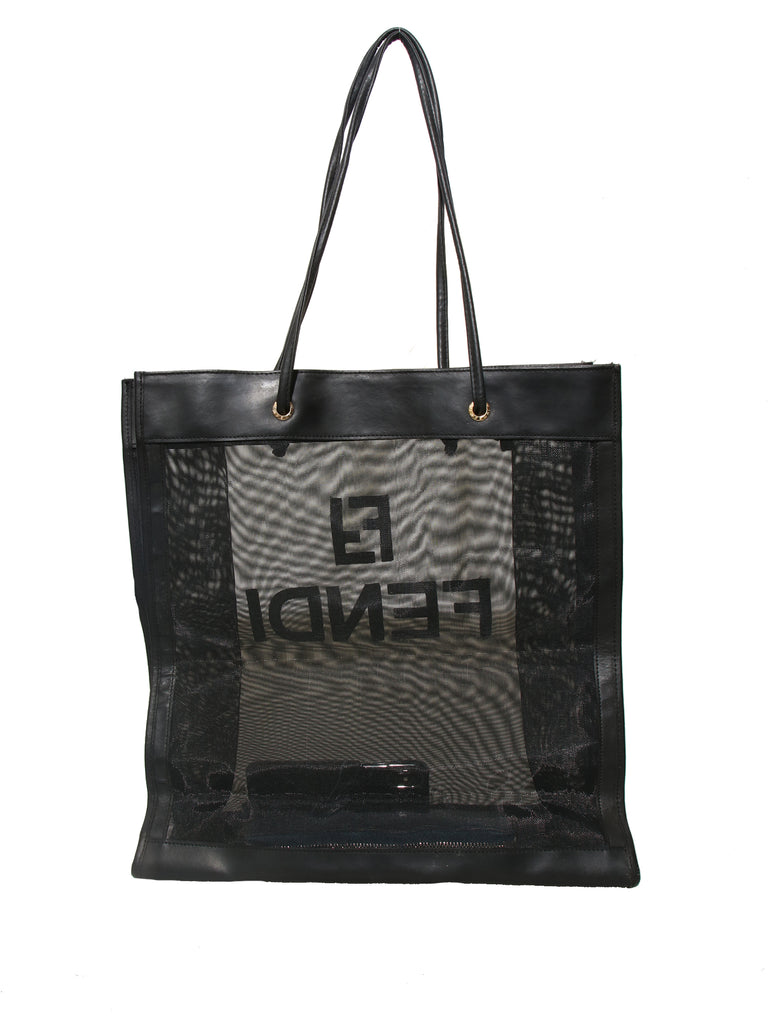Fendi Leather-Trimmed Mesh Tote