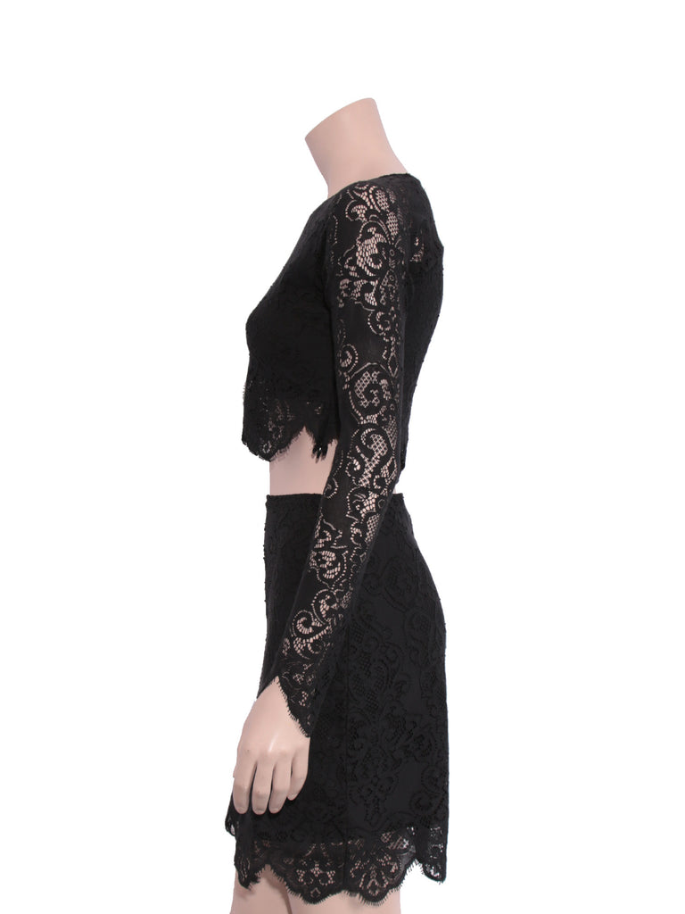 For Love & Lemons Midnight Lace Skirt