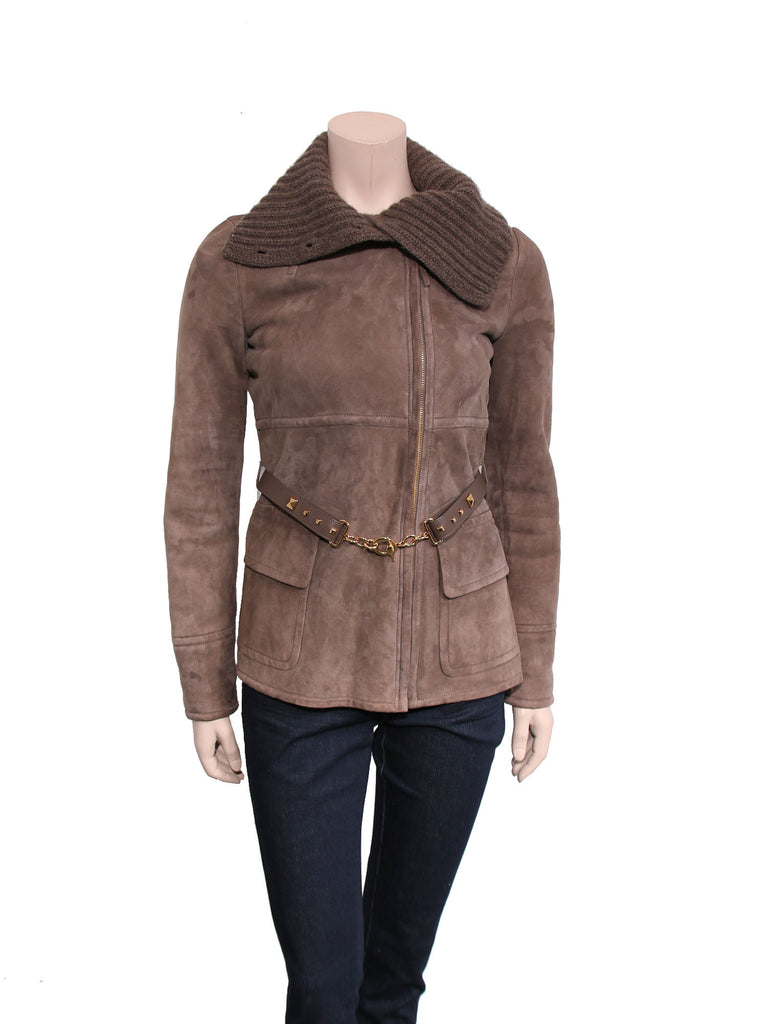 Gucci Belted Shearling Coat
