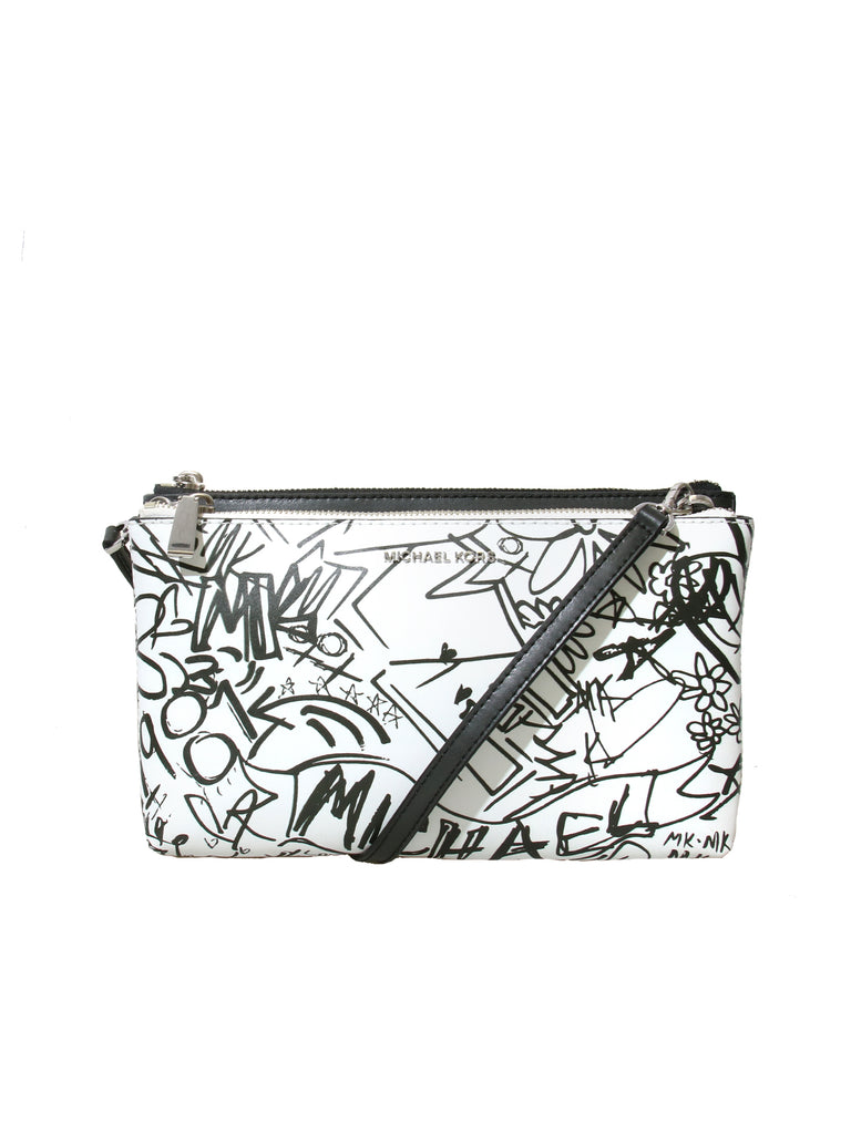 Michael Kors Adele Graffiti Leather Crossbody