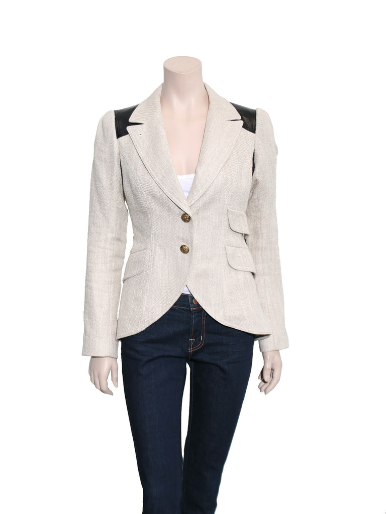Smythe Leather Detail Blazer