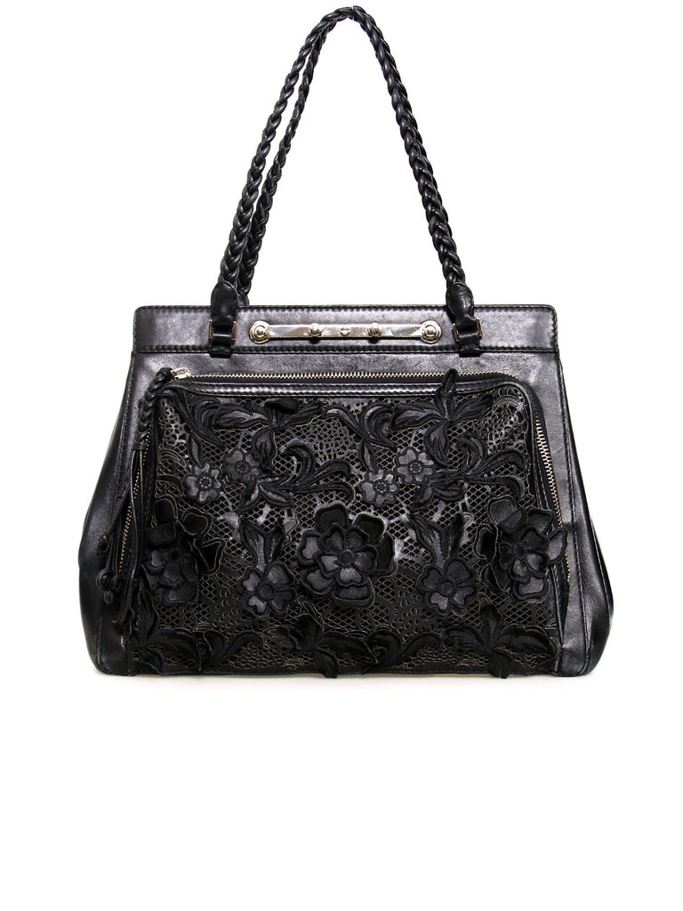 Valentino Demetra Napa Leather and Net Lace Satchel
