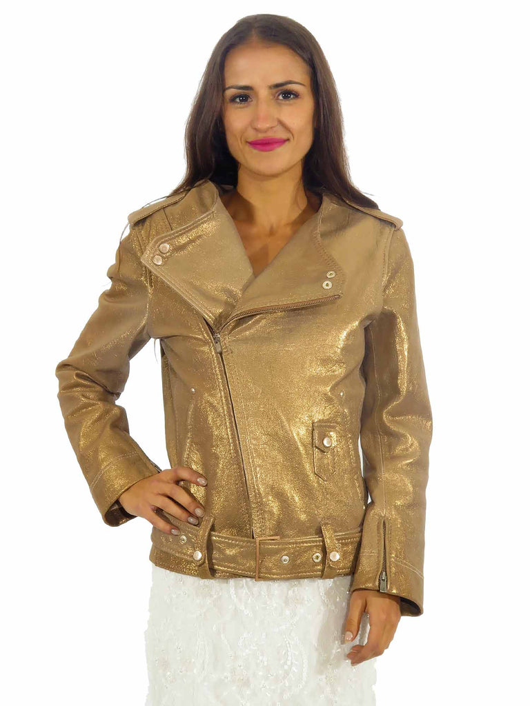Punto Metallic Leather Jacket