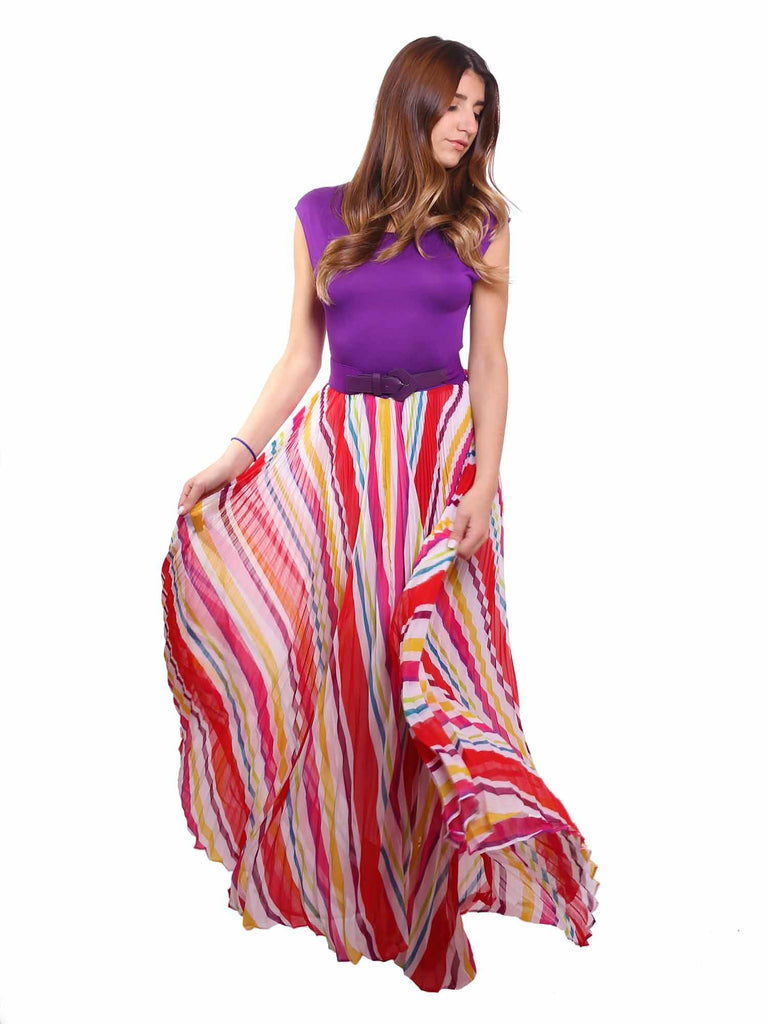alice + olivia Shannon Pleated Maxi Dress