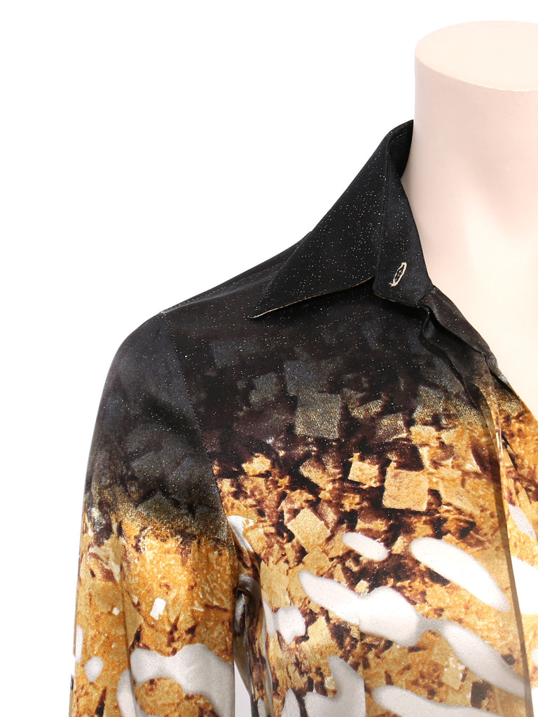 Just Cavalli Printed Shimmer Silk Blouse