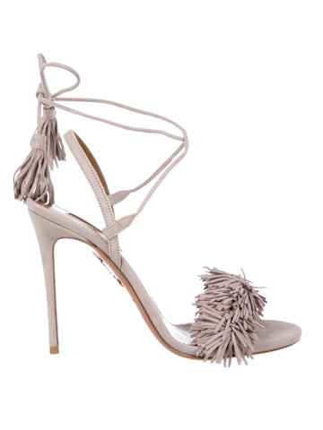Aquazzura Wild Thing 105 Suede Fringe-Trimmed Sandals