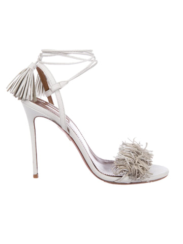 Aquazzura Wild Thing 105 Fringe-Trimmed Sandals