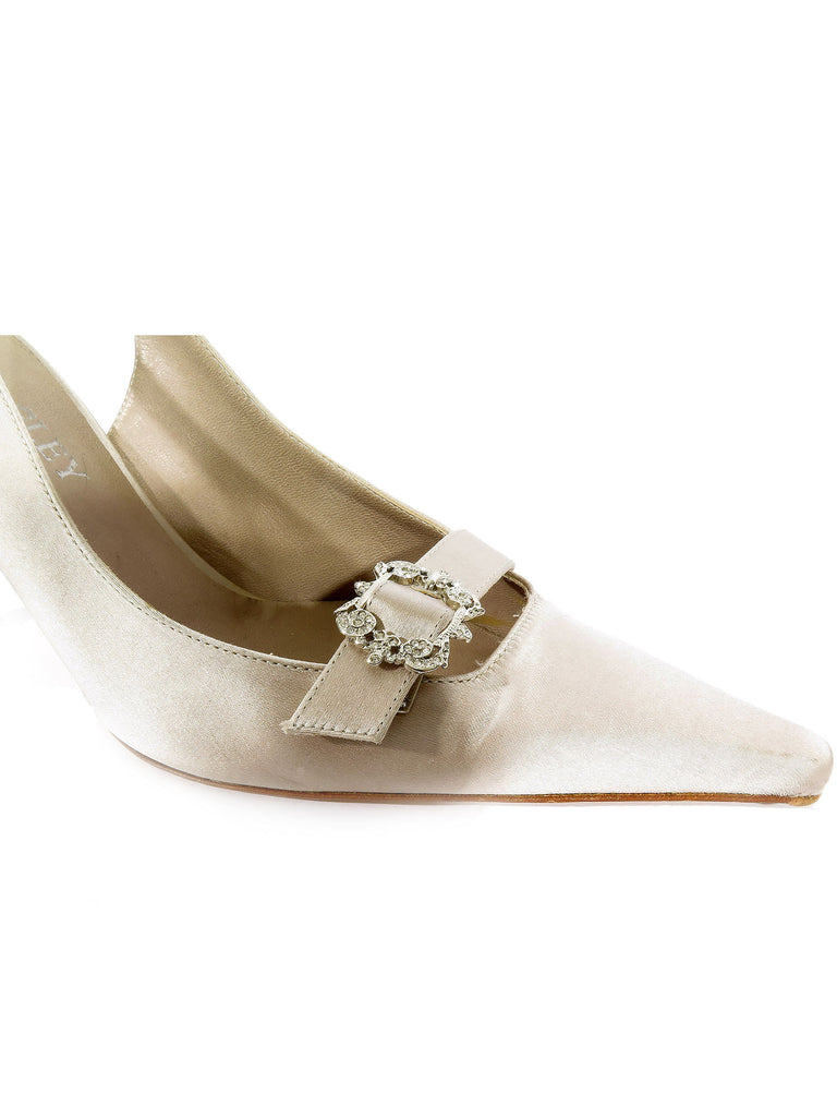 Badgley Mischka Crystal Buckle Slingbacks