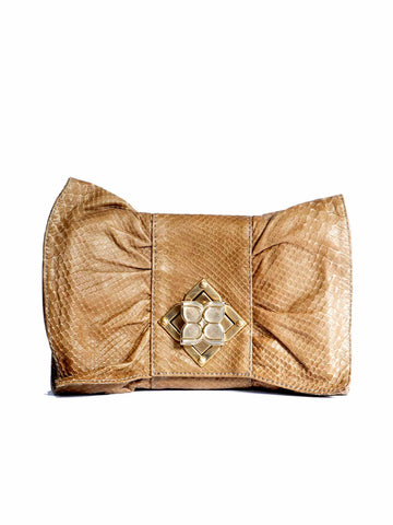 BCBG MaxAzria Snakeskin-Effect Leather Bow Clutch