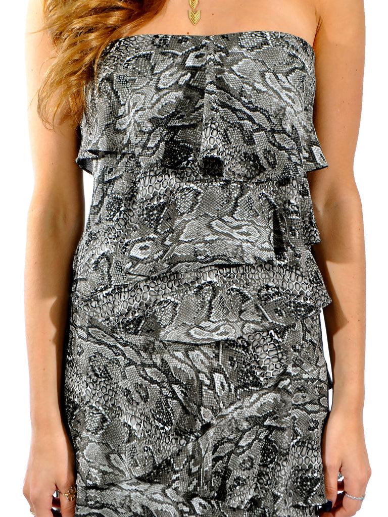 BCBG MaxAzria Ginger Snakeskin Ruffle Dress