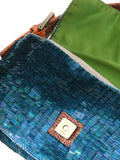 Fendi Lizard-Trimmed Sequin Baguette Bag