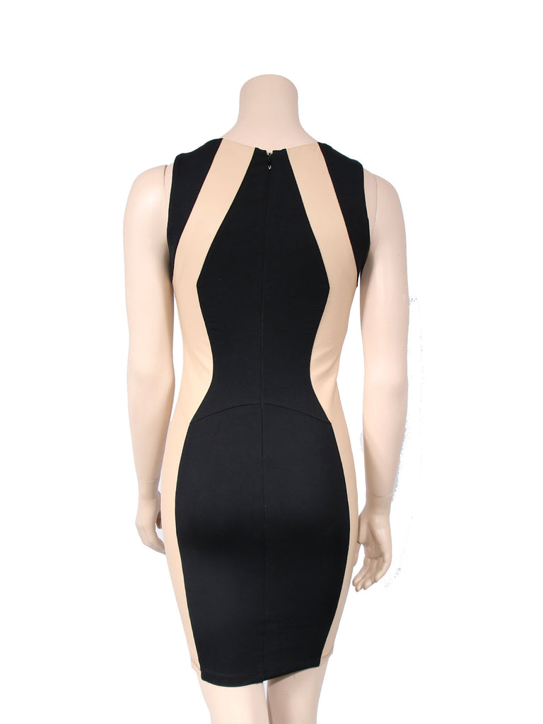 David Lerner Leather Contrast Dress