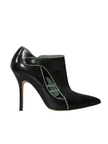 Manolo Blahnik Pointed Leather Booties