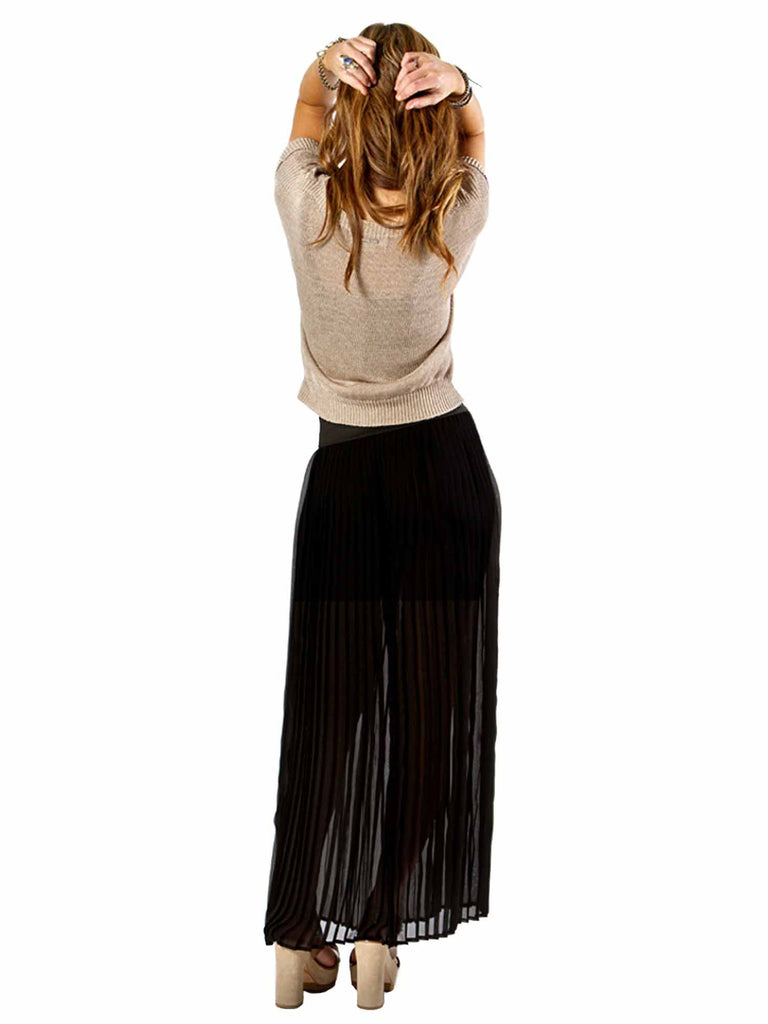 Solemio Pleated Maxi Skirt