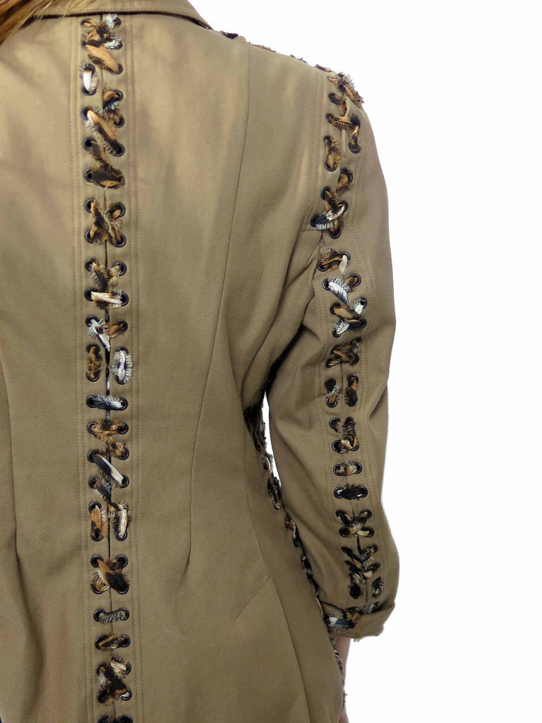 Yves Saint Laurent Chiffon Leopard Lace-Up Trim Blazer