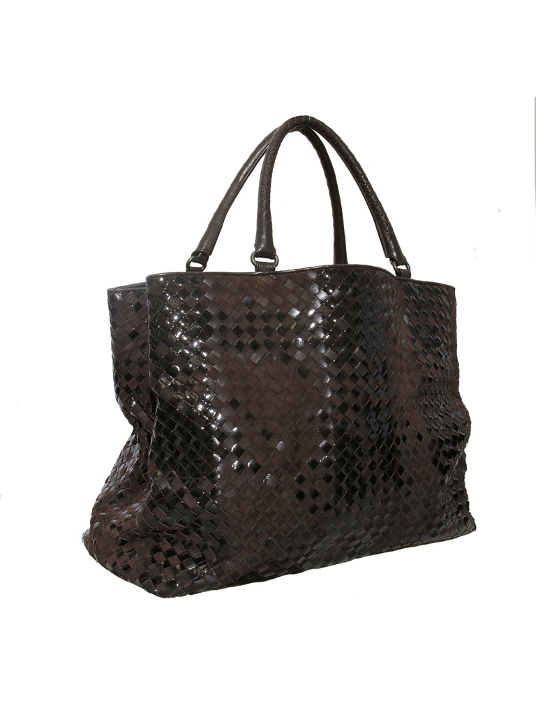 Bottega Veneta Intrecciato Suede and Patent Leather Tote Bag