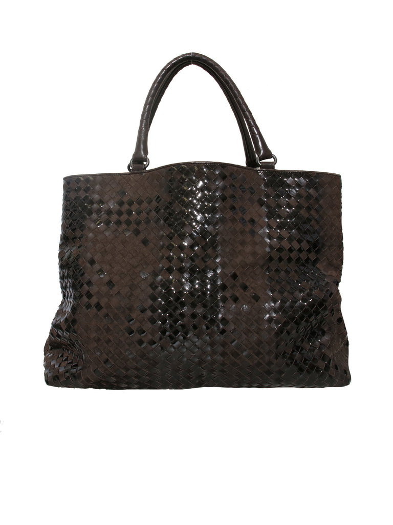b06f97113978 Pre-owned Bottega Veneta Intrecciato Suede and Patent Leather Tote ...