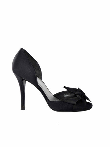 Stuart Weitzman Satin Bow Peep-Toe Sandals