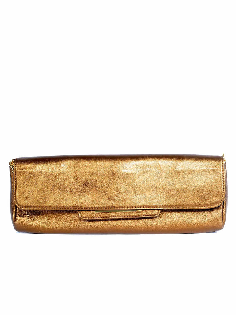 BCBG MaxAzria Metallic Leather Clutch