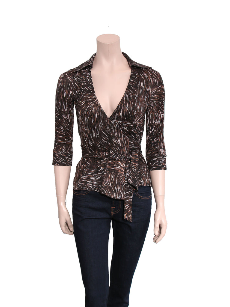 DVF Printed Silk Wrap Top