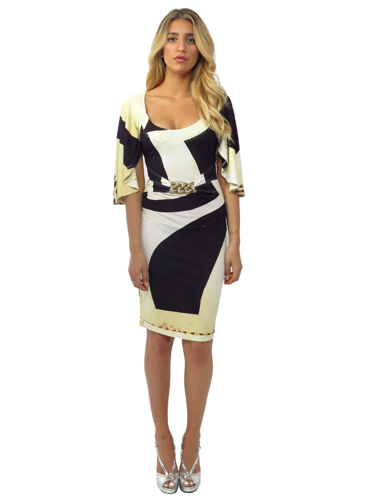 Roberto Cavalli Printed Cape-Sleeve Dress