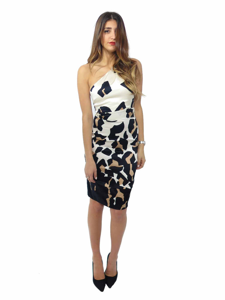 Roberto Cavalli Leopard One-Shoulder Silk Dress