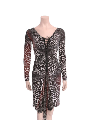Roberto Cavalli Printed Lace-Up Dress