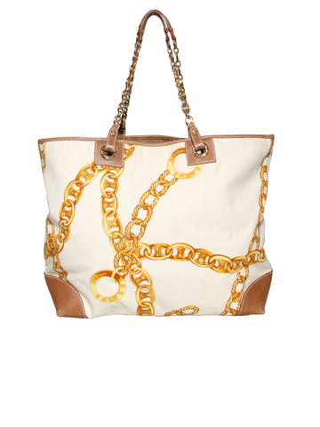 Celine Leather-Trimmed Printed Canvas Tote Bag