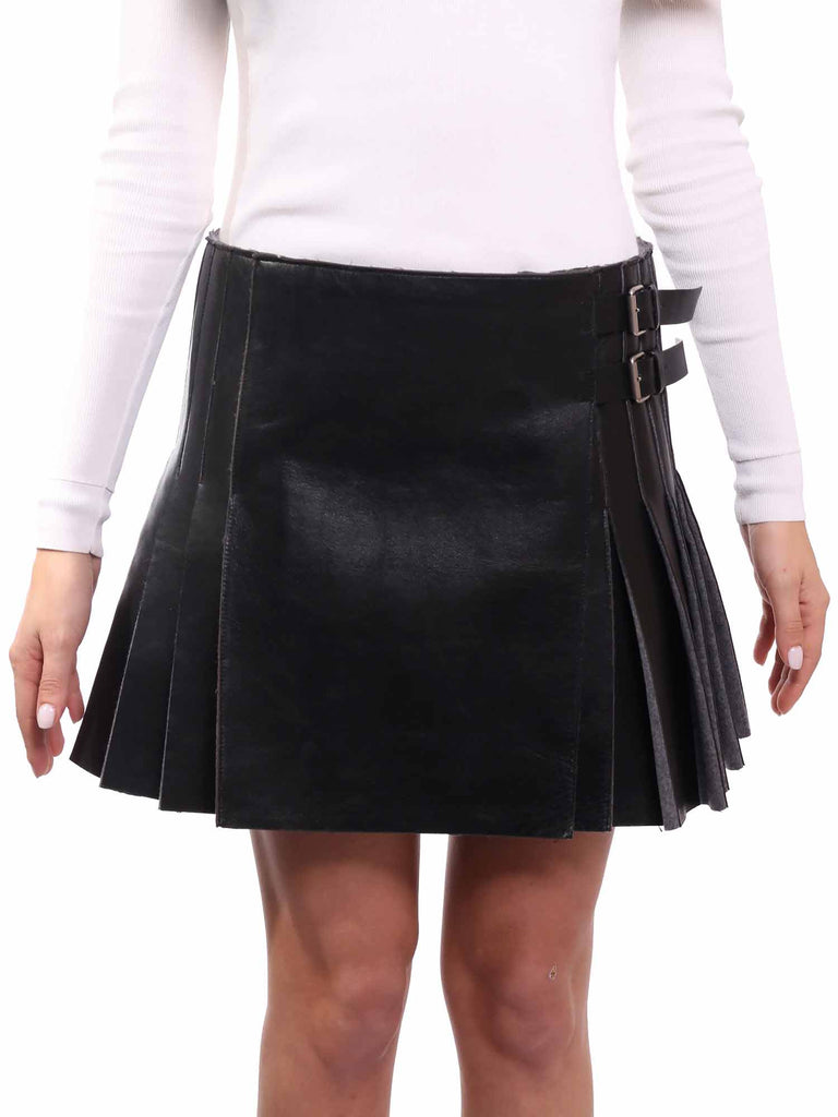 Céline Pleated Leather Skirt