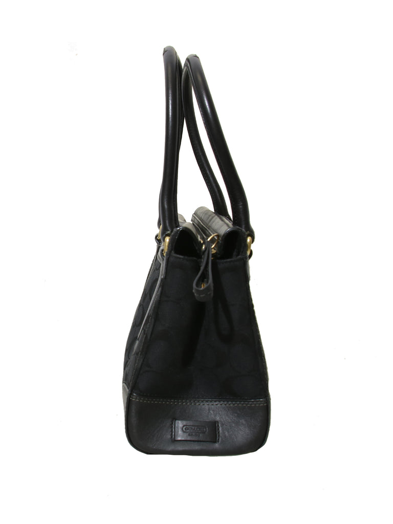 Coach Leather-Trimmed Canvas Monogram Tote