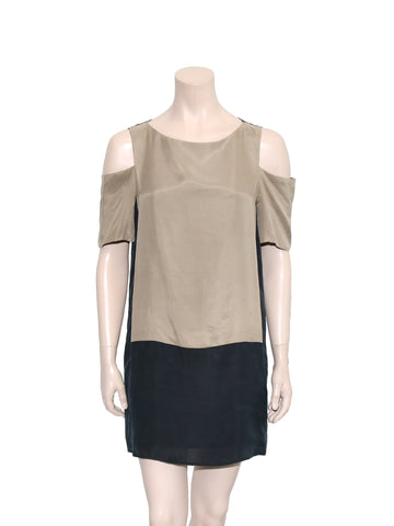 Tibi Silk Cutout Shoulder Dress