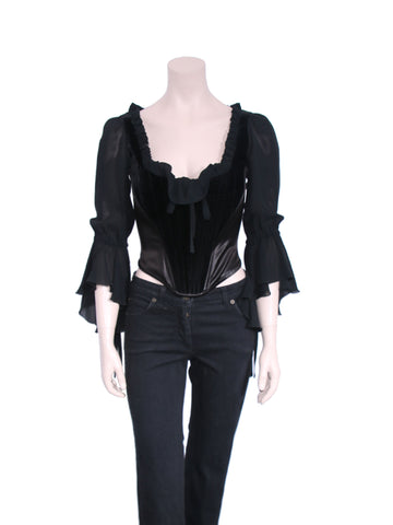 Moschino Silk and Velvet Detail Corset