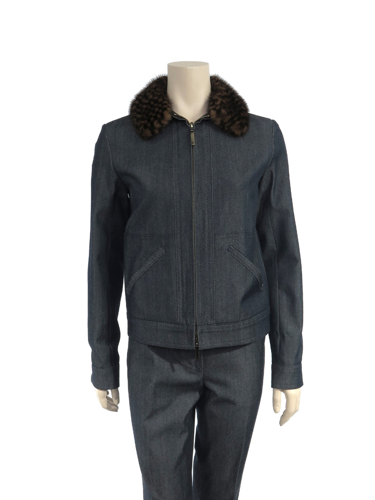 Louis Vuitton Mink Collar Denim Jacket