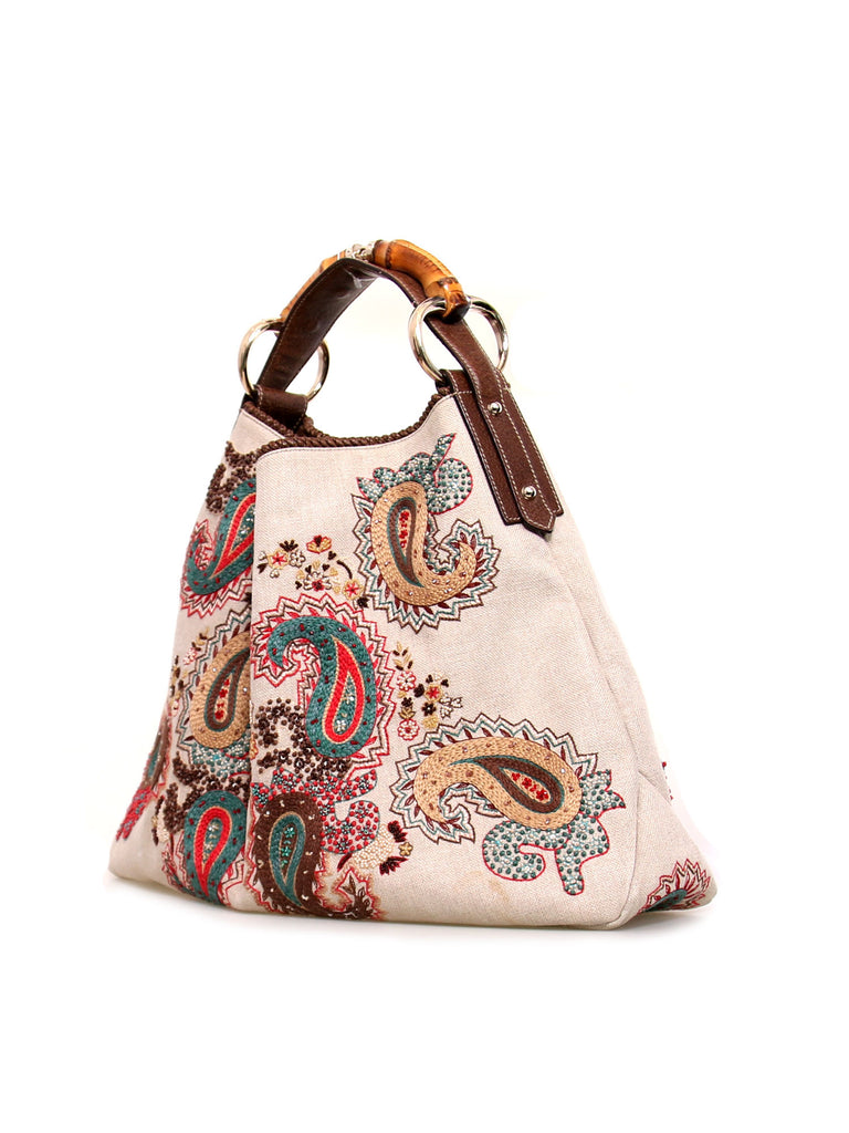 Gucci Embroidered Horsebit Hobo