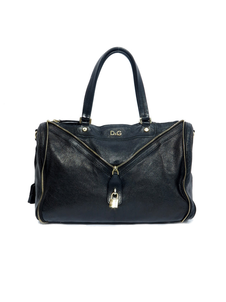 D&G Zip Leather Handle Bag