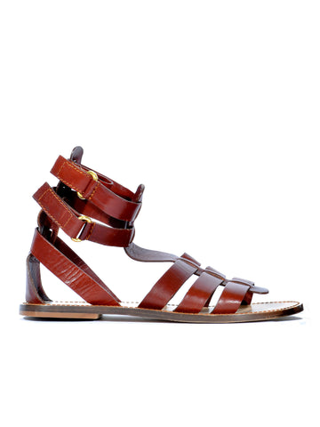D&G Leather Gladiator Flat Sandals