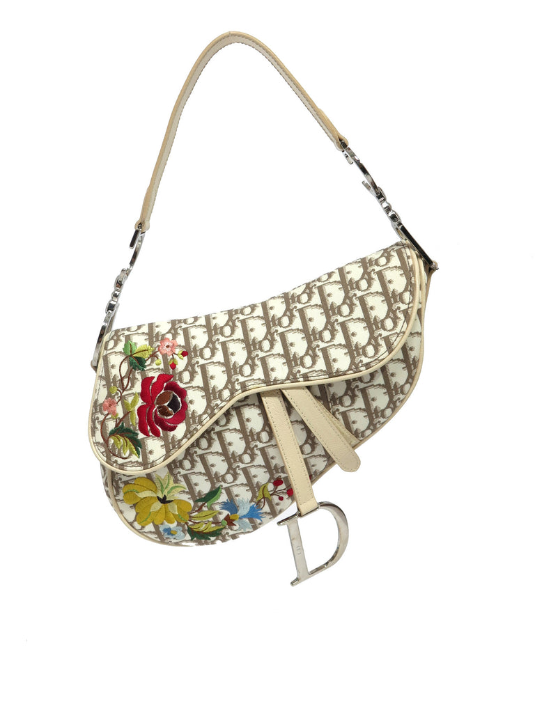 1d5ebd7ba0 Pre-owned Christian Dior Vintage Flowers Saddle Bag – Sabrina s Closet