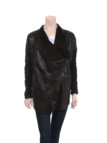 Via Spiga Draped Leather Jacket
