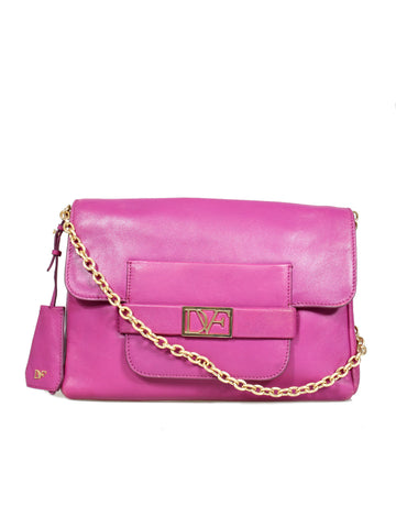 DVF Logo Leather Shoulder Bag
